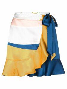 Beau Souci colourblock wrap skirt - Blue