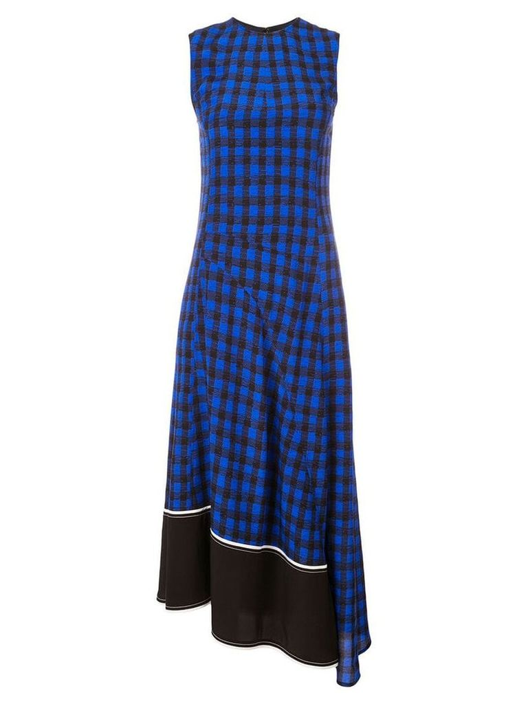 Derek Lam Sleeveless Plaid Print Crewneck Dress with Asymmetric Hem -