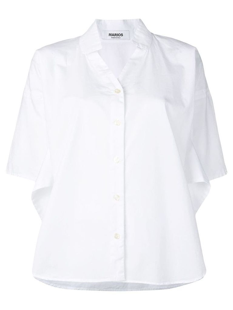 Marios boxy V-neck shirt - White