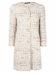 Tagliatore buttoned tweed coat - Neutrals