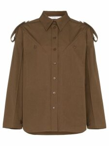 Givenchy diagonal pocket cotton military shirt - Green