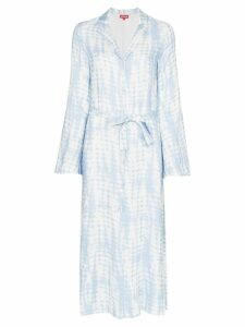 Staud printed waist tie shirt dress - Blue
