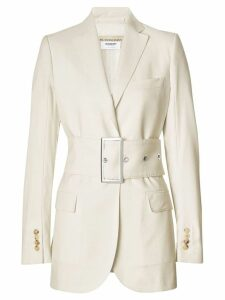 Burberry Wool Belted Blazer - White