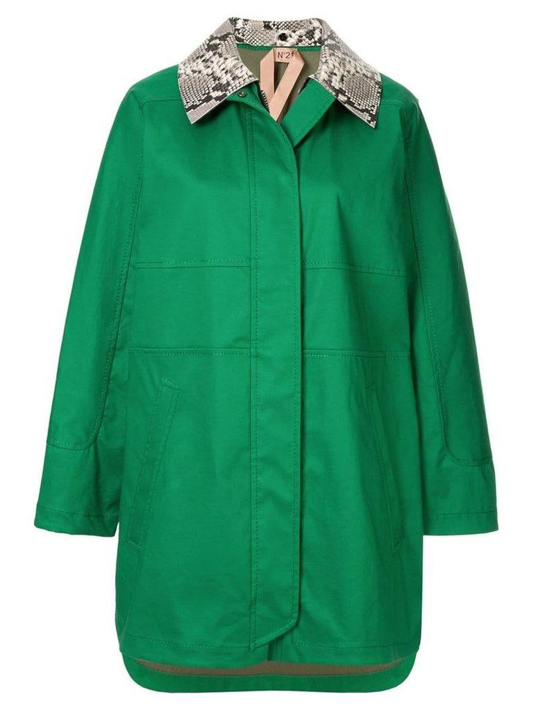 Nº21 contrast-collar coat - Green