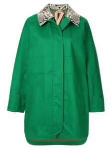 Nº21 contrast-collar coat - Green