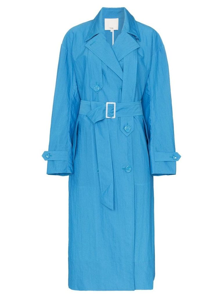 Tibi long-sleeved belted trench coat - Blue