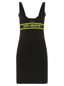 Off-White contrast-logo knitted mini dress - Black