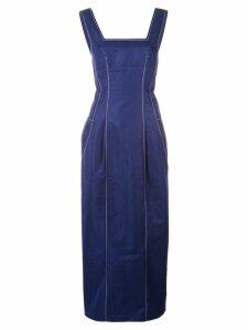 Derek Lam Square Neck Cotton Twill Cami Dress with Pegged Hem - Blue