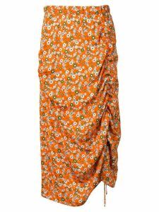 Marco Rambaldi floral print draped skirt - Orange