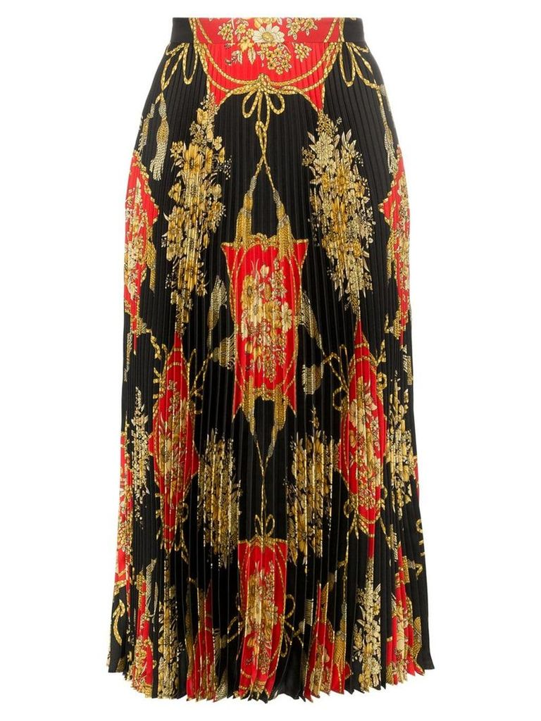 Gucci pleated silk midi skirt - Black