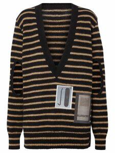 Burberry Montage Print Striped Mohair Wool Blend Sweater - Black