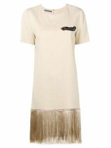 Alberta Ferretti fringed shift mini dress - Neutrals