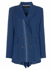 Roland Mouret Bourne double-breasted folded wool blazer - Blue