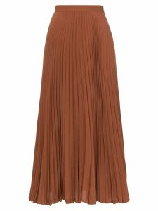 Valentino high-waisted pleated silk midi skirt - Brown