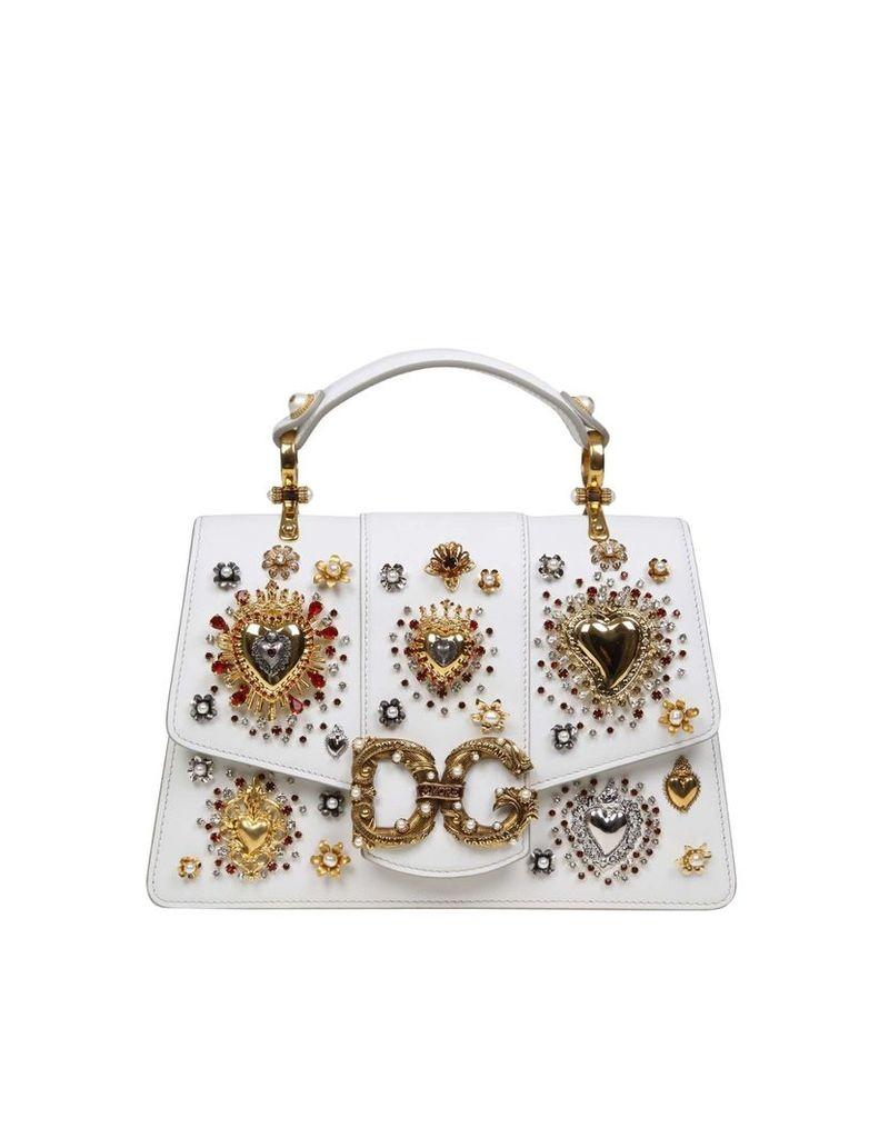 Dolce & Gabbana Hand Bag Dg Love In Calfskin White Color