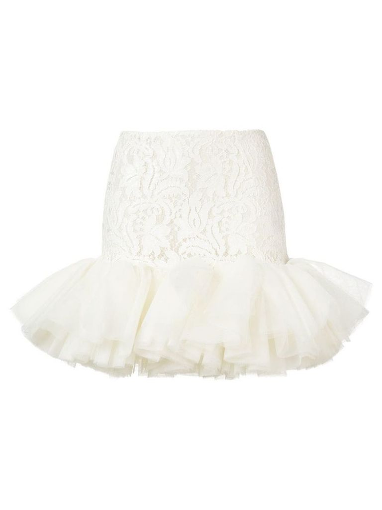 Brognano lace tulle skirt - White