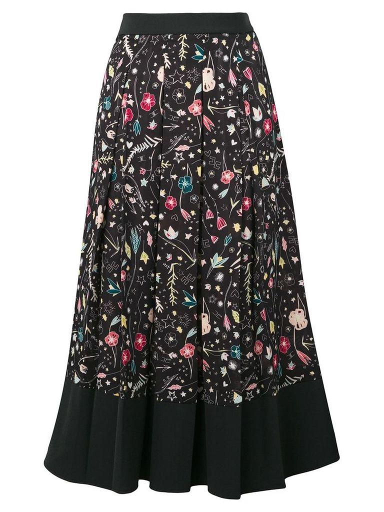 Elisabetta Franchi printed pleated skirt - Black