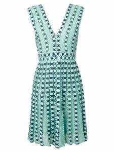 M Missoni embroidered pleated midi dress - Blue