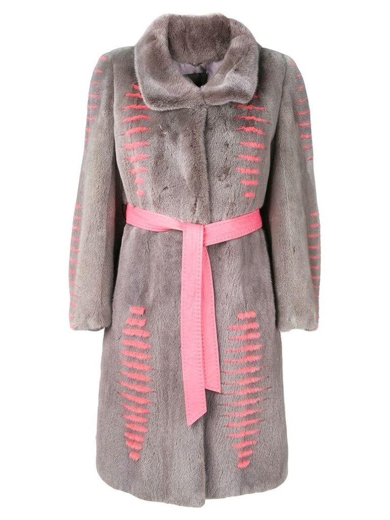Liska Judit belted fur coat - Grey