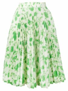 Calvin Klein 205W39nyc leaf print pleated skirt - Green