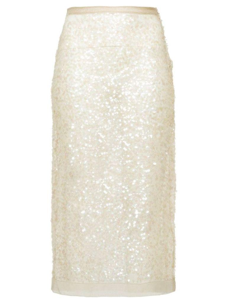 Miu Miu Nylon sequin sheath skirt - Neutrals