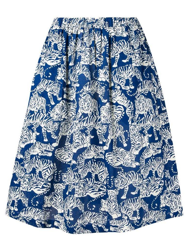 YMC tiger print midi skirt - Blue