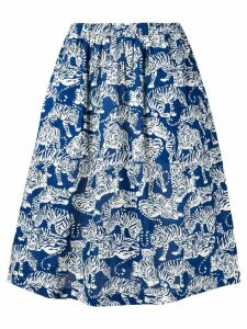 YMC tiger print midi skirt - Blue