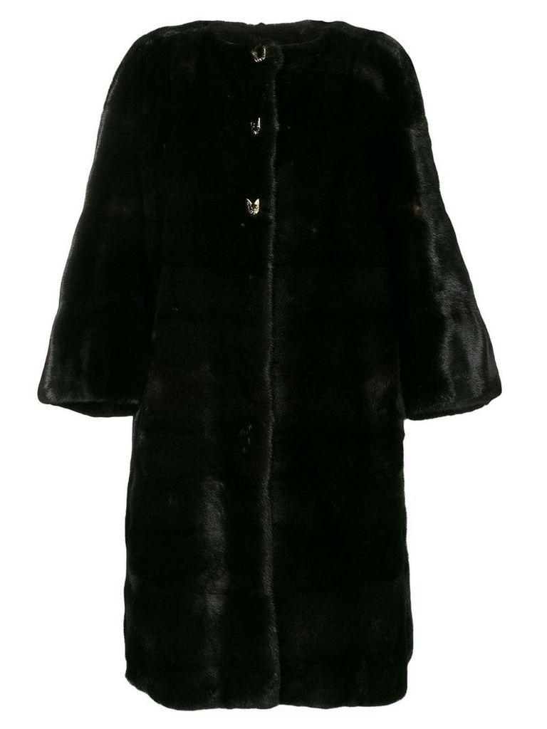 Liska oversized button-up coat - Brown