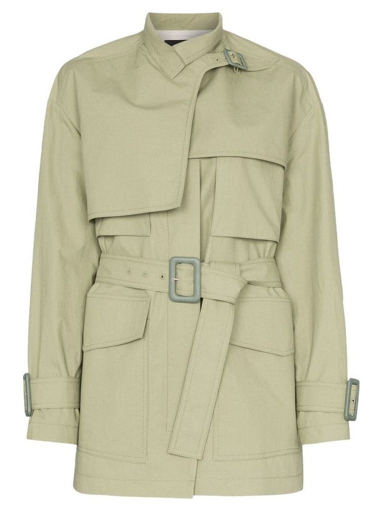 Joseph Warrwick belted short cotton trench coat - Green