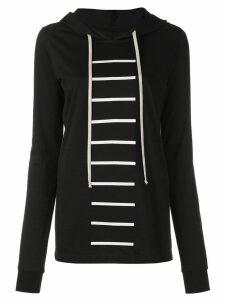 Rick Owens striped front hoodie - Black