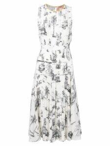Nº21 graphic print midi dress - White