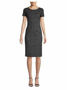 Felino Line & Dot Print Sheath Dress