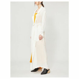 Tie-waist silk coat