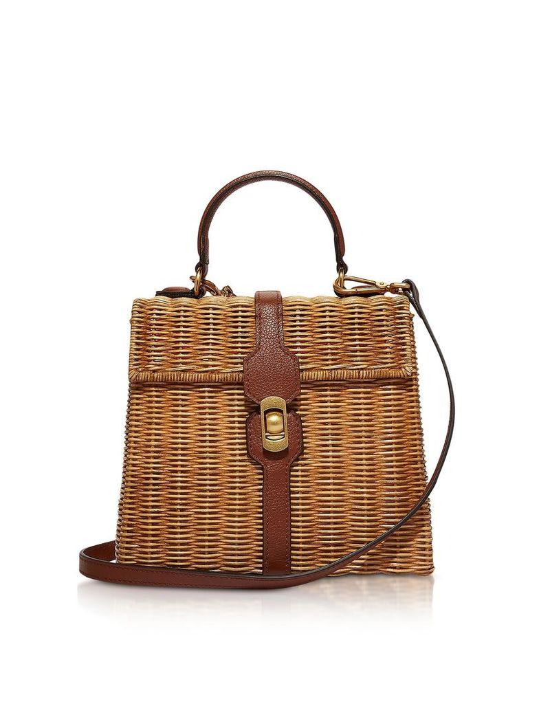 Coccinelle Designer Handbags, Denebola Wicker Satchel Bag