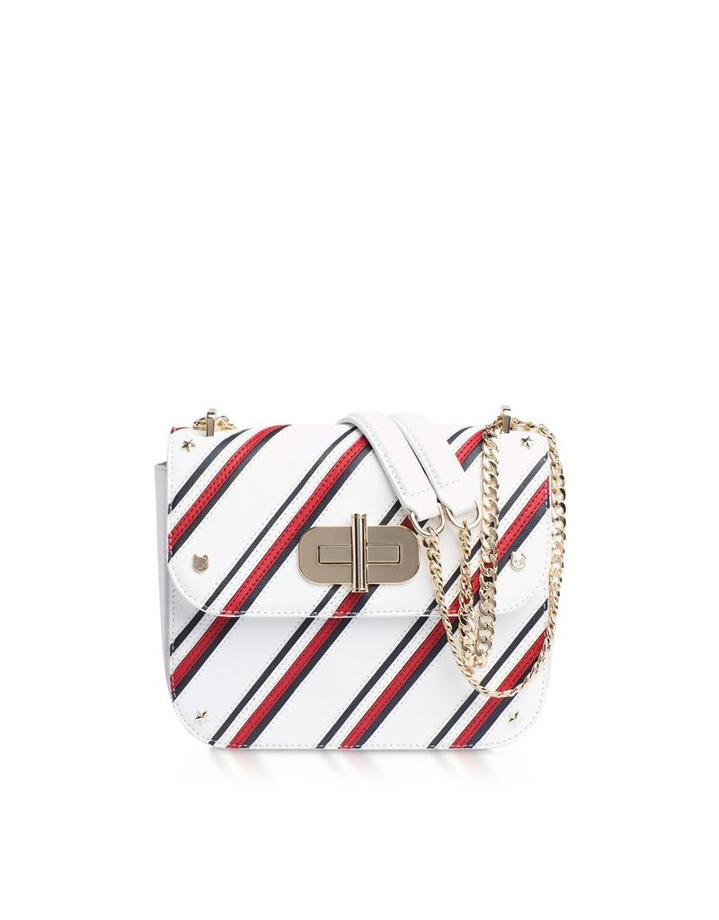 Tommy Hilfiger Designer Handbags, Turn Lock Diagonal Stripe Crossover Bag