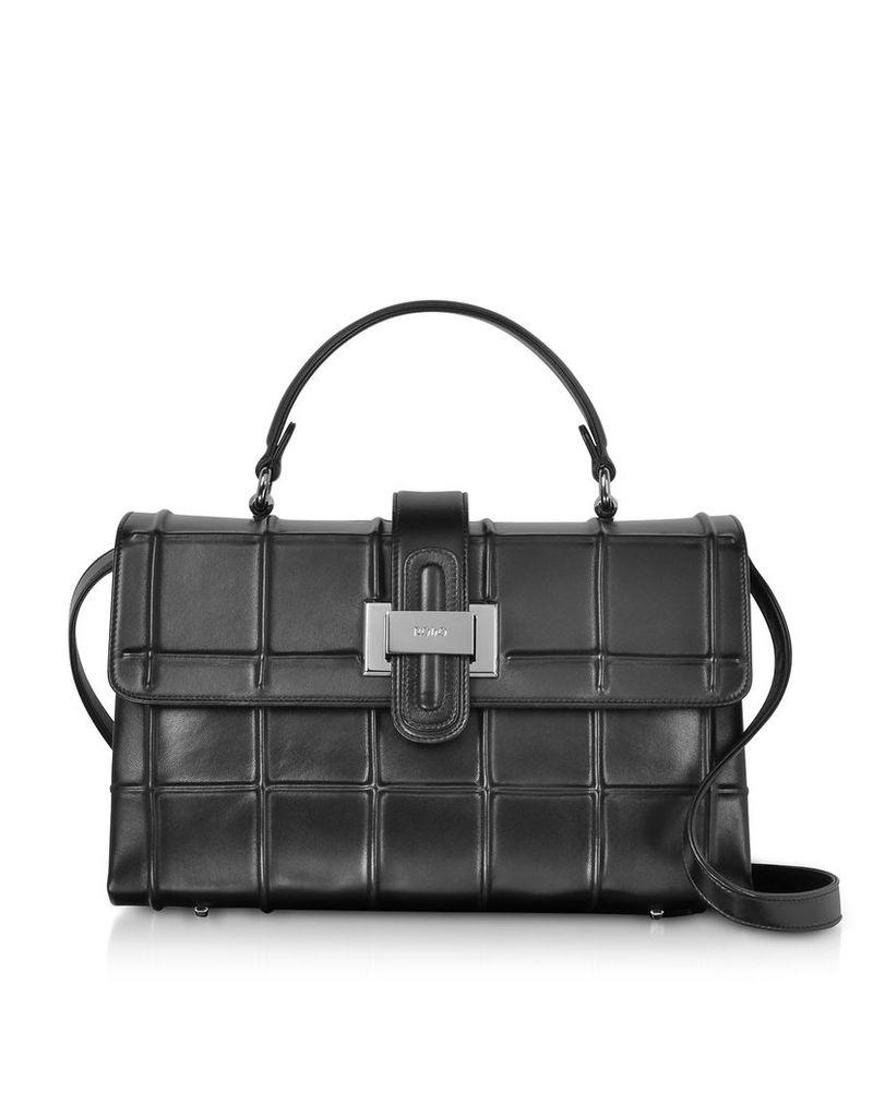 Rodo Designer Handbags, Black Nappa Leather Top Handle Satchel bag w/Shoulder Strap