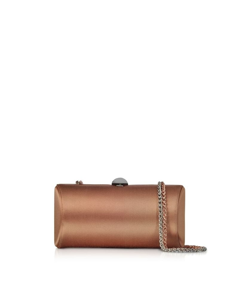 Rodo Designer Handbags, Bronze Satin Clutch