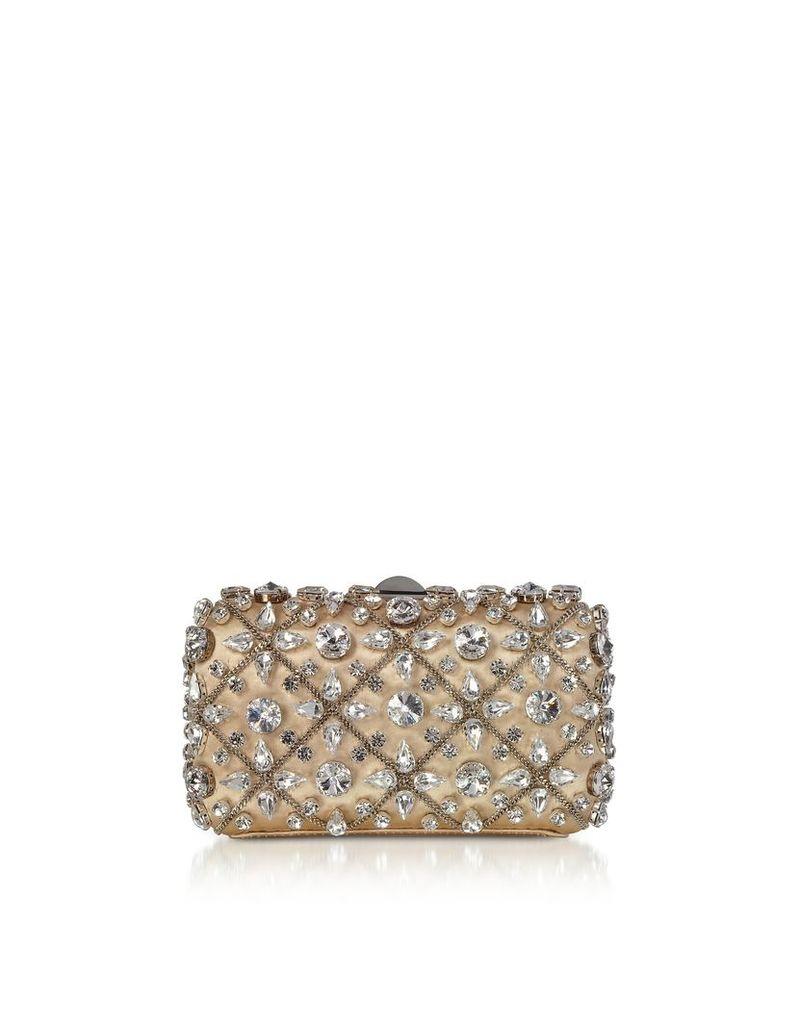 Rodo Designer Handbags, Light Gold Satin Tresor Clutch w/Crystals and Chain
