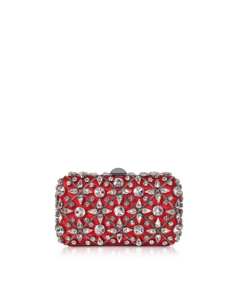 Rodo Designer Handbags, Red Satin Clutch w/Crystals and Chain