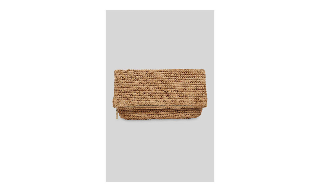 Chapel Straw Foldover Clutch