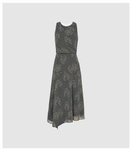 Reiss Naima - Bow Detail Midi Dress in Navy/gold, Womens, Size 16