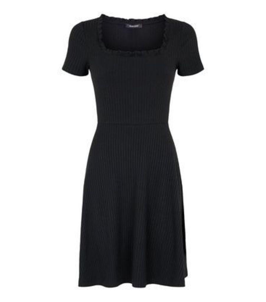 Black Frill Square Neck Rib Skater Dress New Look