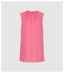 Reiss Lena - Bow Detail Top in Pink, Womens, Size 14