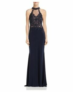 Avery G Embellished Illusion Gown