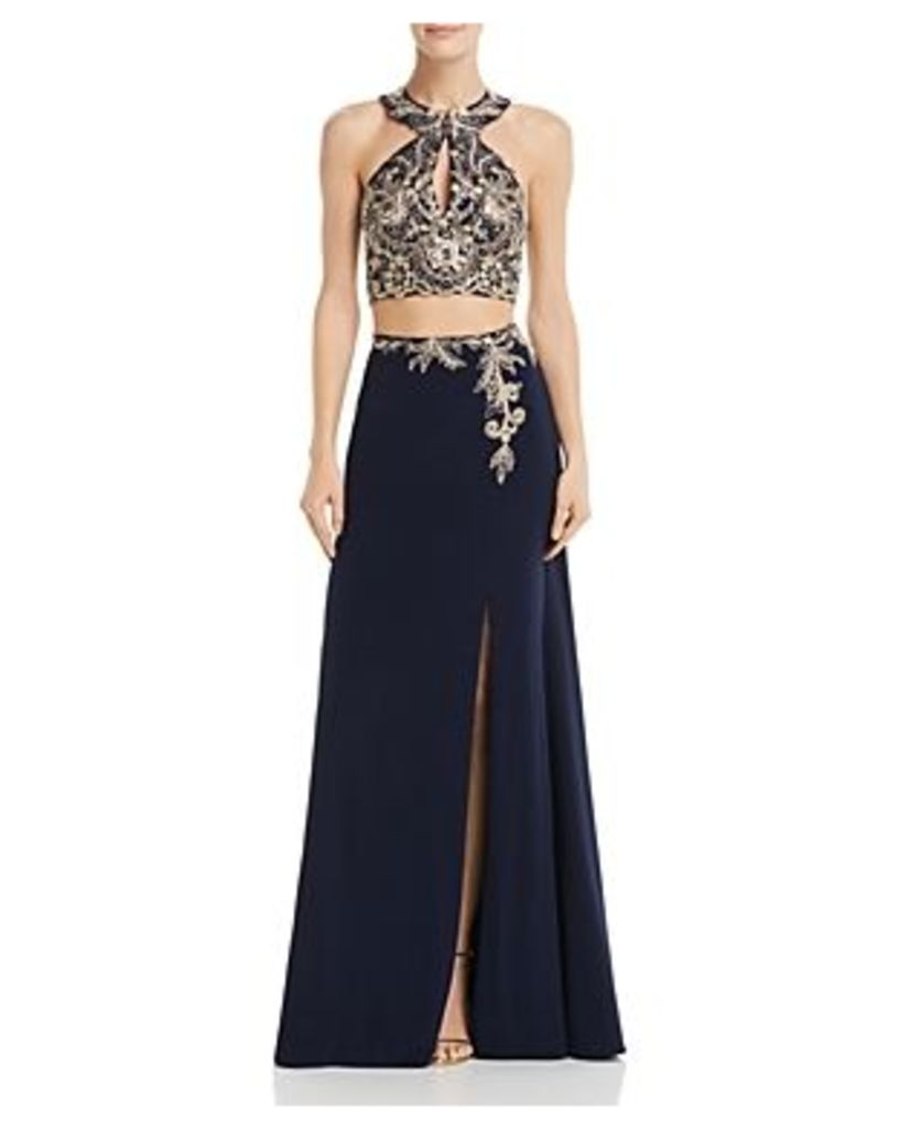 Avery G Embellished Two-Piece Gown