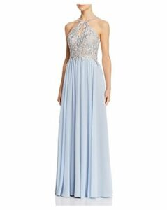 Avery G Embroidered Chiffon Gown