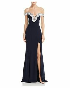 Aqua Embellished Off-the-Shoulder Gown - 100% Exclusive