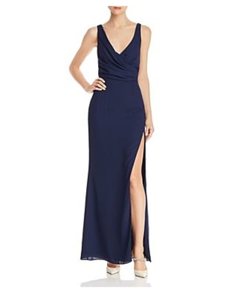Fame and Partners Strap-Detail Draped Gown