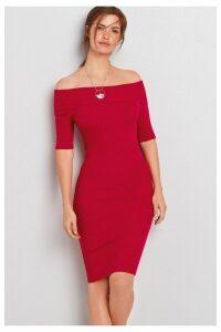 Womens Next Red Bardot Rib Dress -  Red