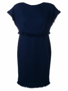 Chanel Pre-Owned 1990's fringed knitted dress - Blue